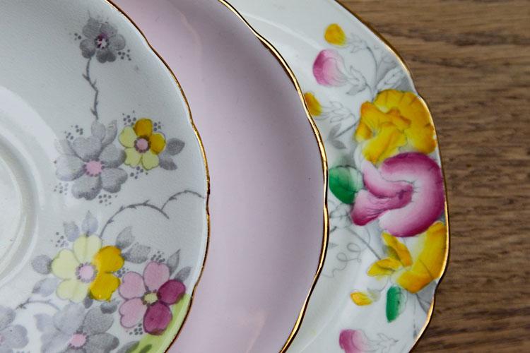 vintage flower plates