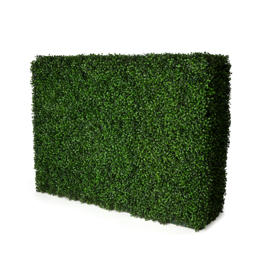 green faux boxwood hedge wall rental