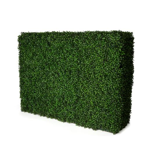 green faux boxwood hedge wall rental